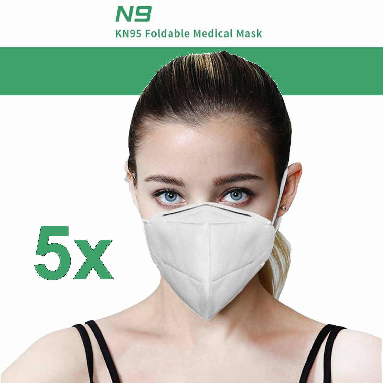 5 er PACK FFP2 Maske MARKENPRODUKT Schutzmaske Mundschutz Masken Atemschutzmaske