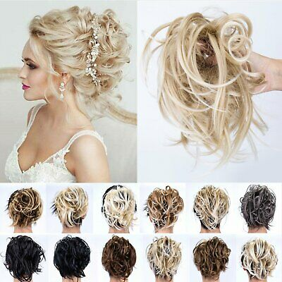 UK Natural Look Thick Messy Bun Scrunchie Wrap on Hair Extensions Real As Human