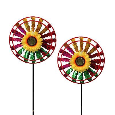 Lot of 2X Double Layer Flower Windmill Wind Spinner Decoration Home Yard Garden](Flower Wind Spinner)