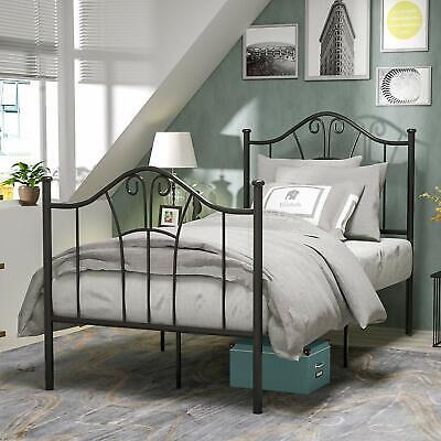 Twin Size Metal Bed Frame Mattress Platform Black Headboard Footboard Furniture Black Twin Platform