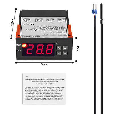 AC 220V Digital LCD Thermostatfühler Temperaturregler mit Sensor -40℃~120°C