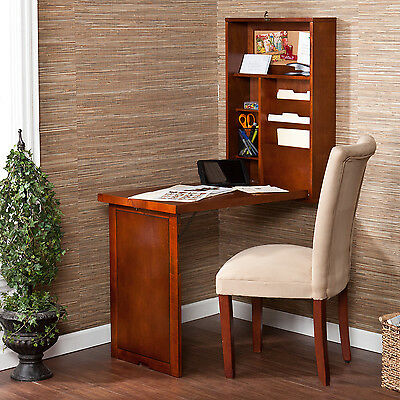 Upton Home Murphy Walnut Fold Out Convertible Desk Ebay