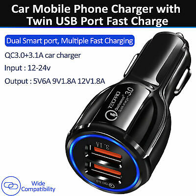 Car Charger 3.1A LED Light TWIN 2 PORT12-24V CIGARETTE SOCKET DUAL MOBILE PHONE