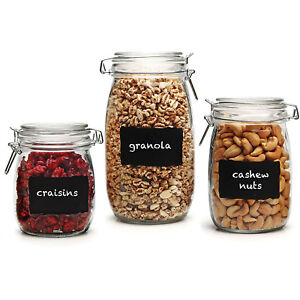 Genial Glass Canister Set Of 3 Metal Clamp Lids Kitchen Food Storage Jars  Containers