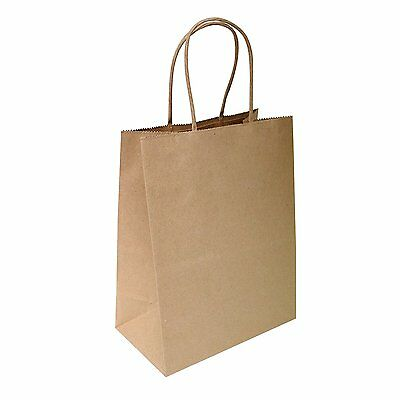 50 Pcs Brown Paper Retail Shopping Bag Packing Shipping Business Gift Wholesale
