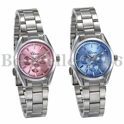 Womens Ladies Fashion Dress Stainless Steel Waterproof Quartz Analog Wrist Watch