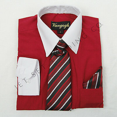 Boys Red Dress Shirt White Contrast with Tie & Hankie Long Sleeves Sizes 4 to - Boys Red Dress Shirt
