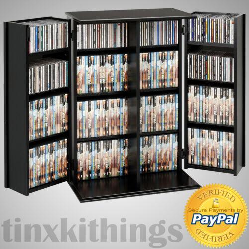 Black Media Storage Cabinet Locking Adjustable Shelves CD DVD VCR Display Rack