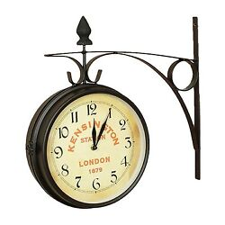 KENSINGTON STATION LONDON 1879 DOUBLE TWO SIDED TRAIN RAILROAD WALL CLOCK LARGE