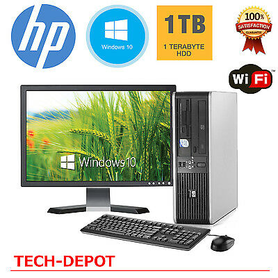 Hp Desktop Pc Computer Windows 10 Core 2 Duo 4Gb Ram 1Tb Wifi 19  Monitor Fast
