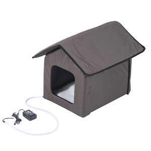 PawHut Heated Kitty House Outdoor Pet Cat Animals Warm Shelter Bed Portable New
