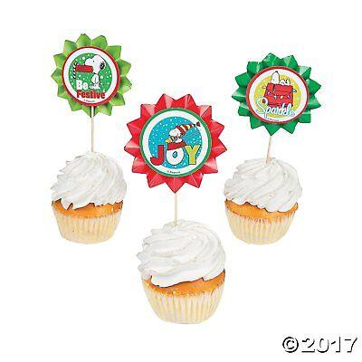 Snoopy Cupcake Picks Peanuts Christmas Cake Decor 24 Large Flower Bakery Picks  (Snoopy Cupcakes)