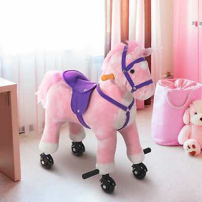 Rocking Horse Kids Ride on Toy Walking Pony Neigh Sound Children Gift w/ Wheels Rocking Horse Sounds