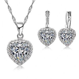 925 Silver Solid Heart Cubic Zirconia Jewellery Set. Necklace and Drop Earrings