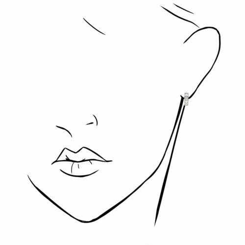 1.5Ct Created Diamond Princess Cut White Gold Over Silver Huggie Hoop Earrings 1