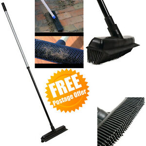 Heavy Duty Black Rubber Broom Pet Hair Brush with Solid 1.3m Handle NEW UK