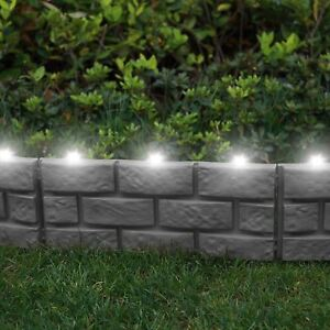 4 Pack Grey Brick Effect Grass Garden Lawn Path Edging Border With LED Lights