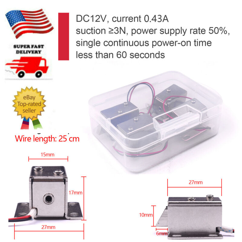 4x 12V DC 0.43A Cabinet Drawer Electric Magnetic Smart Door Lock Solenoid Lock