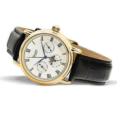 481b59c1141 Stauer Men s Magnificat II Automatic Watch with Gold Fused Case and Genuine  B..