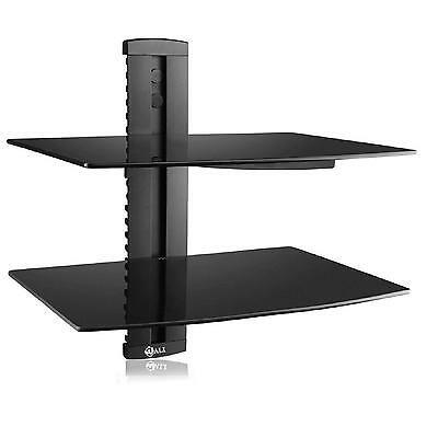 Black Floating Wall Shelf Glass