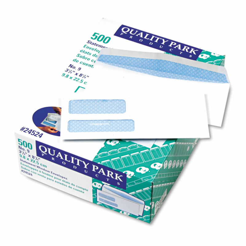 Quality Park 2-Window Security Tinted Invoice/Check Mailer #9 3 7/8 x 8 7/8