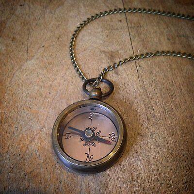 Miniature Compass Necklace Antique Bronze Mini Pendant & Chain - Cross