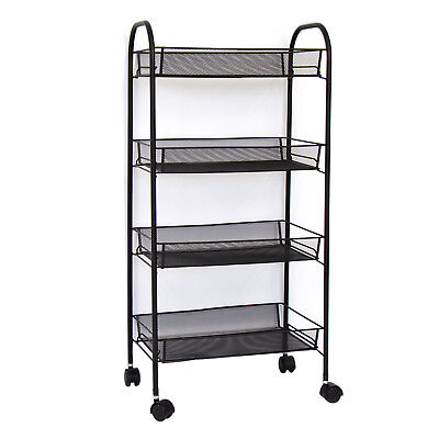 4 Tier Rolling Metal Kitchen Utility Trolley Cart W/ Storage Shelf Basket Black
