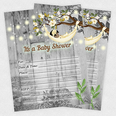 Girl Baby Shower Invitations Rustic Decorations Invites Set Of 20 - Rustic Baby Shower Invitations