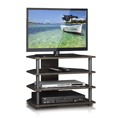 (Corner Entertainment System Center Media Stand 4 Shelves For TV Gaming Consoles)