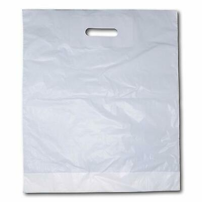 1000 x Strong White 'Patch' Handle Party Plastic Carrier Bags - 10