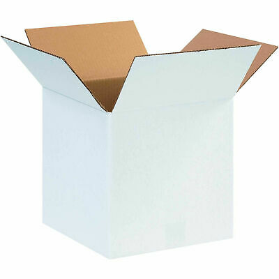 12 X 12 X 12 Cardboard Corrugated Boxes 65 Lbs Capacity Ect-32 White Lot
