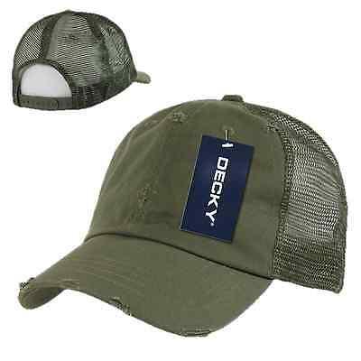 Olive Green Vintage Washed Distressed Mesh Trucker Baseball Cap Caps Hat - Washed Caps Olive