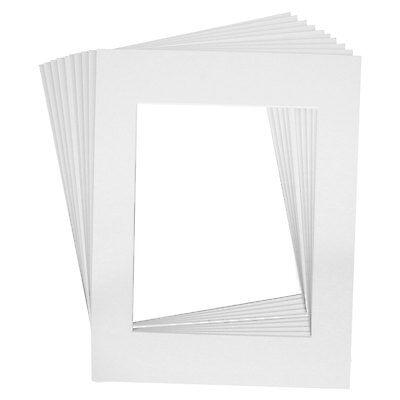 10 Art Mats Premier Quality Acid-Free Pre-Cut 11x14 White Picture Mat Face Frame