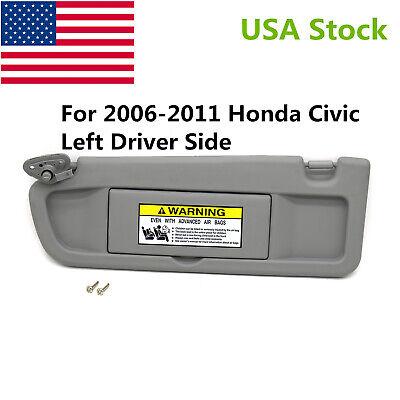 Light Gray Left Driver Side Sun Visor fit for Honda Civic 06 11 EX LX Sedan SI