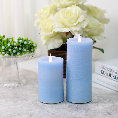 Blue Led Candles (2 Pack Dancing Flame led Pillar Candle sets,Flicker Flameless Candle ,Blue)