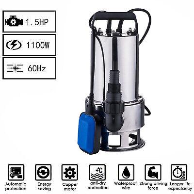 1.5hp Stainless Steel Submersible Dirty Sewage Water Pump Clean Sump Dewatering