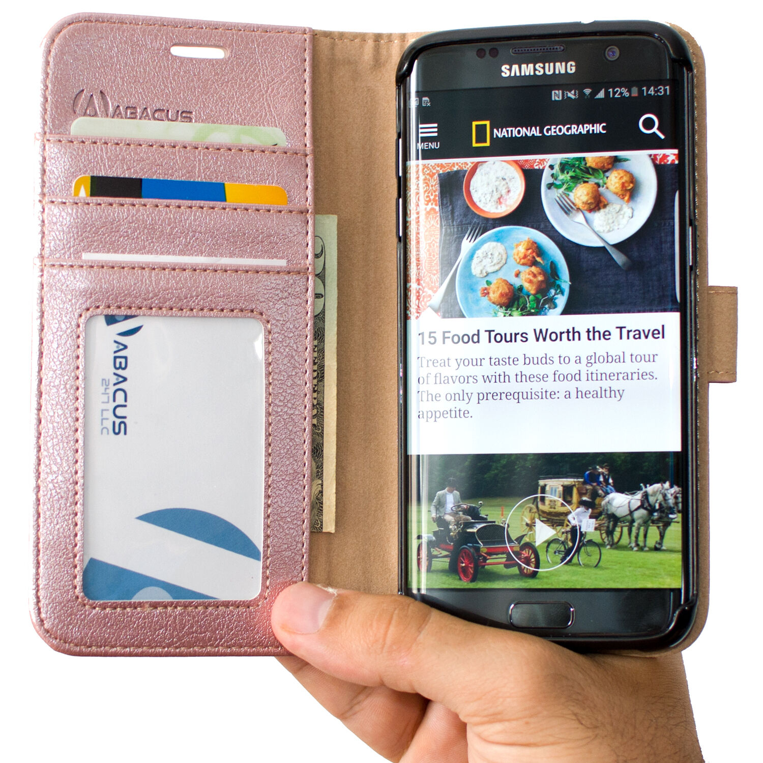 Abacus24-7 Samsung Galaxy S7 Edge Wallet Flip Case Cover, Ro
