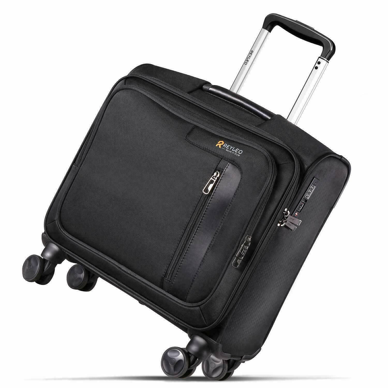 REYLEO Rolling Briefcase on 8 Wheels Rolling Laptop Bag Rolling Computer Case