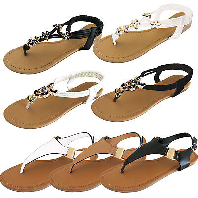 Summer Flip Flop Sandals - LADIES WOMENS OPEN TOE THONG SANDALS SUMMER FLIP FLOP ANKLE STRAP FLAT SHOES NEW