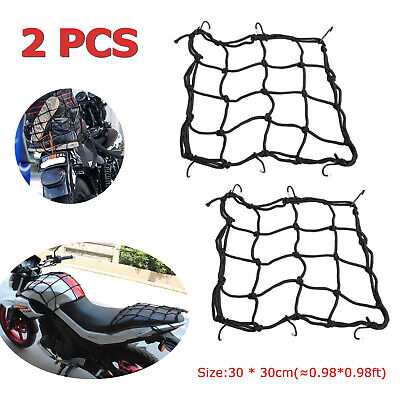 2pcs 30*30cm Motorcycle Bicycle Mesh Cargo Net Helmet Rope Luggage Storage Bag