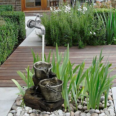 Vintage Tap Pump Outdoor Fountain Garden Ornament Water Feature w/ LED Lighting