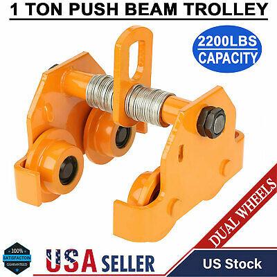 1 Ton I-beam Push Beam Track Roller Trolley For Overhead Garage Hoist 2200lb New