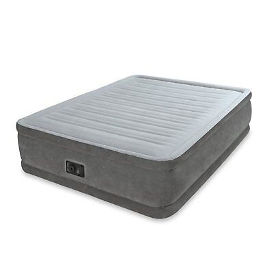 Air Mattress - Intex Queen Comfort Plush Elevated Mattress Air bed with Built-In Pump, Gray
