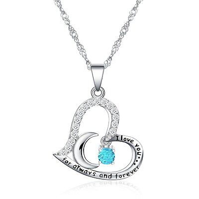 Women Flipped Birthstone I Love You For Always Forever Crystal Pendant Necklace