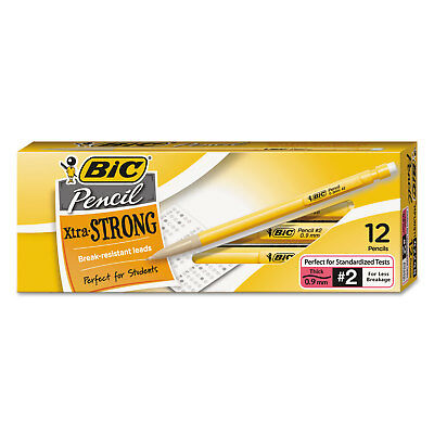 Bic Mechanical Pencil Xtra Strong .9mm Yellow Dozen Mplws11blk