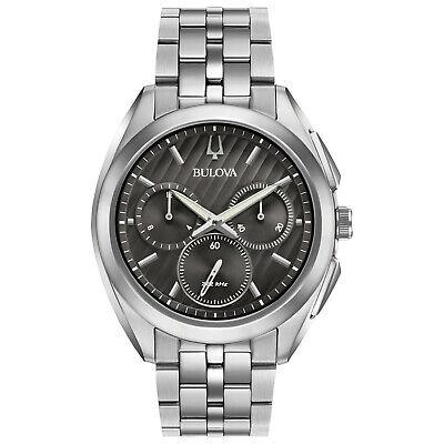 Bulova CURV Men's Quartz Chronograph Silver-Tone Bracelet 45mm Watch 96A186