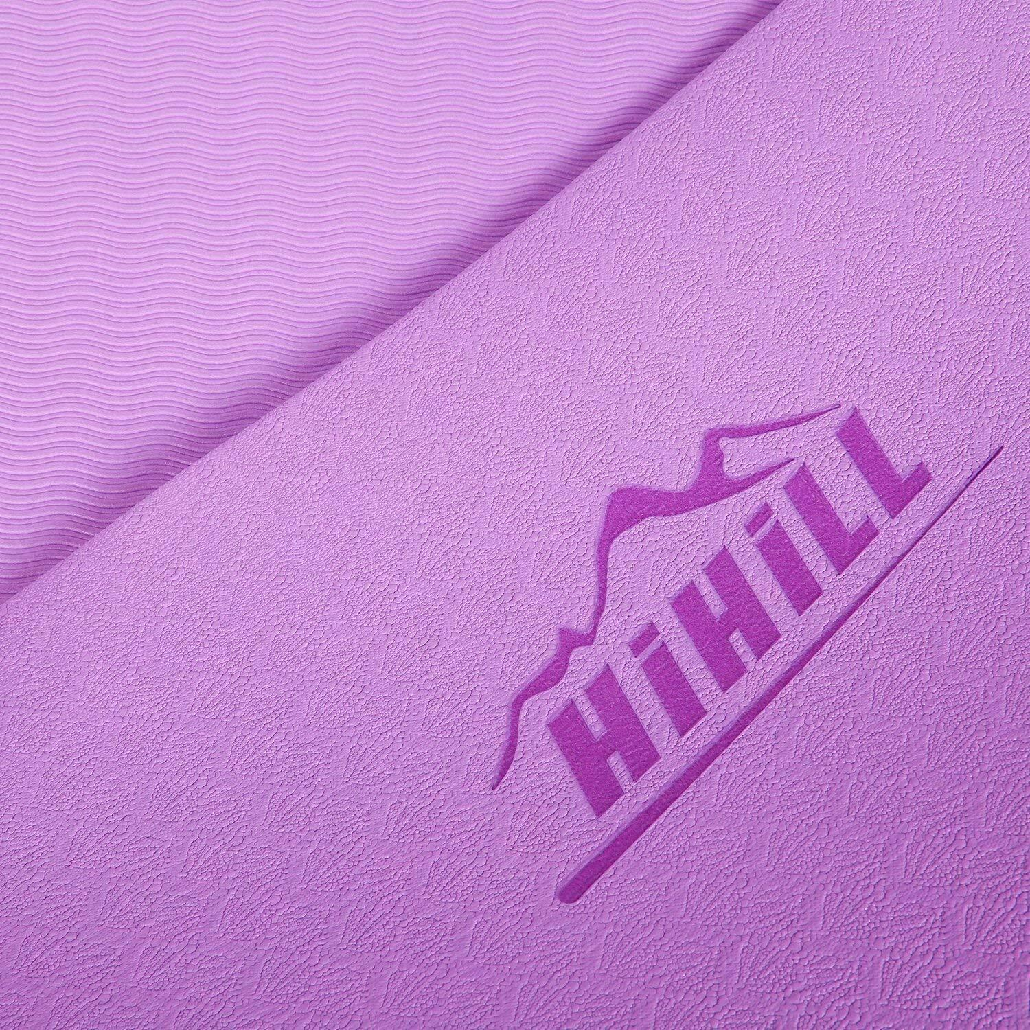 HiHill Yoga Mat, -TPE Non Slip, High Density, with Carry Bag (YG-M1, Purple) 4