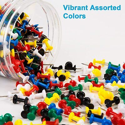 Betybedy Push Pins 400pcs Multi-color Map Thumb Tacks Plastic Marking Pins Wit