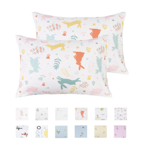 Cotton Toddler Pillowcases Ultra Soft Pillow Case Cover Set of 2 13 x 18 in New