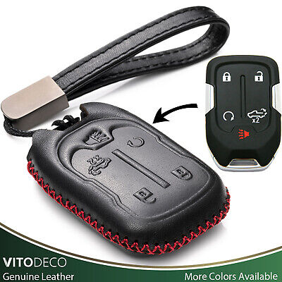 Vitodeco 5-Button Leather Smart Key Fob Case for 2019 Chevy Silverado 1500 2500